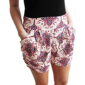 DaySeventh Women's Floral Printing High Waist Shorts Summer Casual Short Pants Small Beige