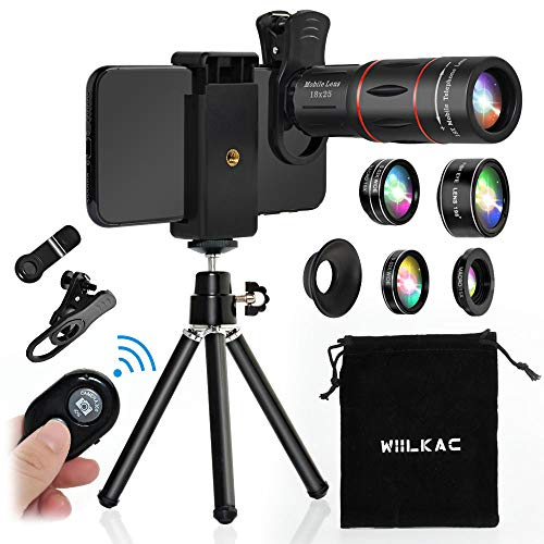 Phone Camera Lens Kit, 18X Telescope Zoom Lens 6 in 1 Cell Phone Lens Kit with 198°Fisheye, 15X Macro, 0.63X Wide Angle,Tripod and Shutter for iPhone X XS Max 8 7 6 Plus Samsung Android