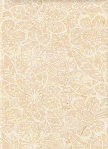 (Timeless Treasures Tonga Batik Bubbly Cosmo Flowers on Butter Cream Yellow Batik B2580 ~ HALF YARD ~ Quilt Fabric 100% Cotton 106