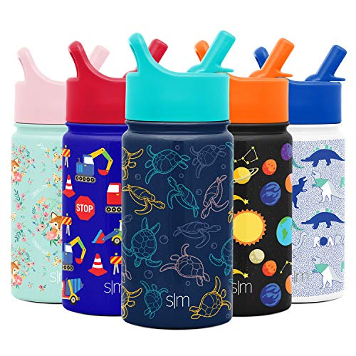 Simple Modern 14oz Summit Kids Water Bottle Thermos with Straw Lid - Dishwasher Safe Vacuum Insulated Double Wall Tumbler Travel Cup 18/8 Stainless Steel - Turtles