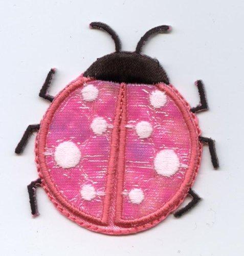 Large Pink Satin Ladybug Iron On Embroidered Applique Patch Ladybug Embroidered Iron