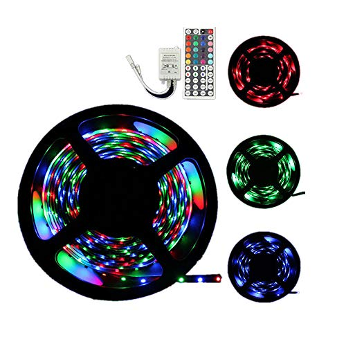 BiuBuy LED Strip Lights Tape Strips Music Sync DIY Colors Changing Timing Light Strips with Remote Controller Sync to Music Apply for Bedroom, Party, Home Decoration (5M 3528-300LED)