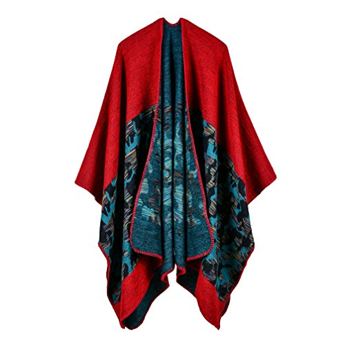 (Bakerdani Women's Winter Wrap Blanket Poncho Cape Shawl Cardigans Sweater)