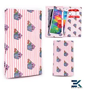 Tyvek Bifold Wallet with Universal Phone Case fits HTC 8XT Cover - PINK CHERRY CUPCAKES. Bonus Ekatomi Screen Cleaner