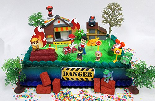 Price comparison product image Paw Patrol and Friends to the Rescue Deluxe Birthday Cake Topper Set Featuring Paw Patrol Figures and Decorative Themed Accessories