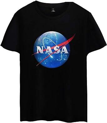 OLIPHEE Camiseta Deportiva De Algodón De Manga Corta NASA Camiseta ...