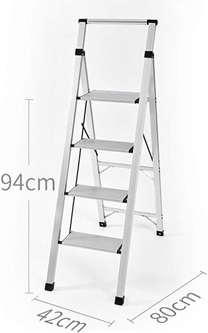 YXZQ Escalera de Armario con barandillas de Aluminio de 4 peldaños, escaleras de Mano Plegables de Servicio Pesado con Ancho de Banda, Carga de 150 kg: Amazon.es: Hogar