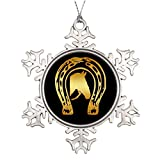 Touytlyd Xmas Trees Decorated Dgpaulart Christmas Snowflake Ornament Ideas Equestrian GOLD HORSESHOE AND HORSE HEAD