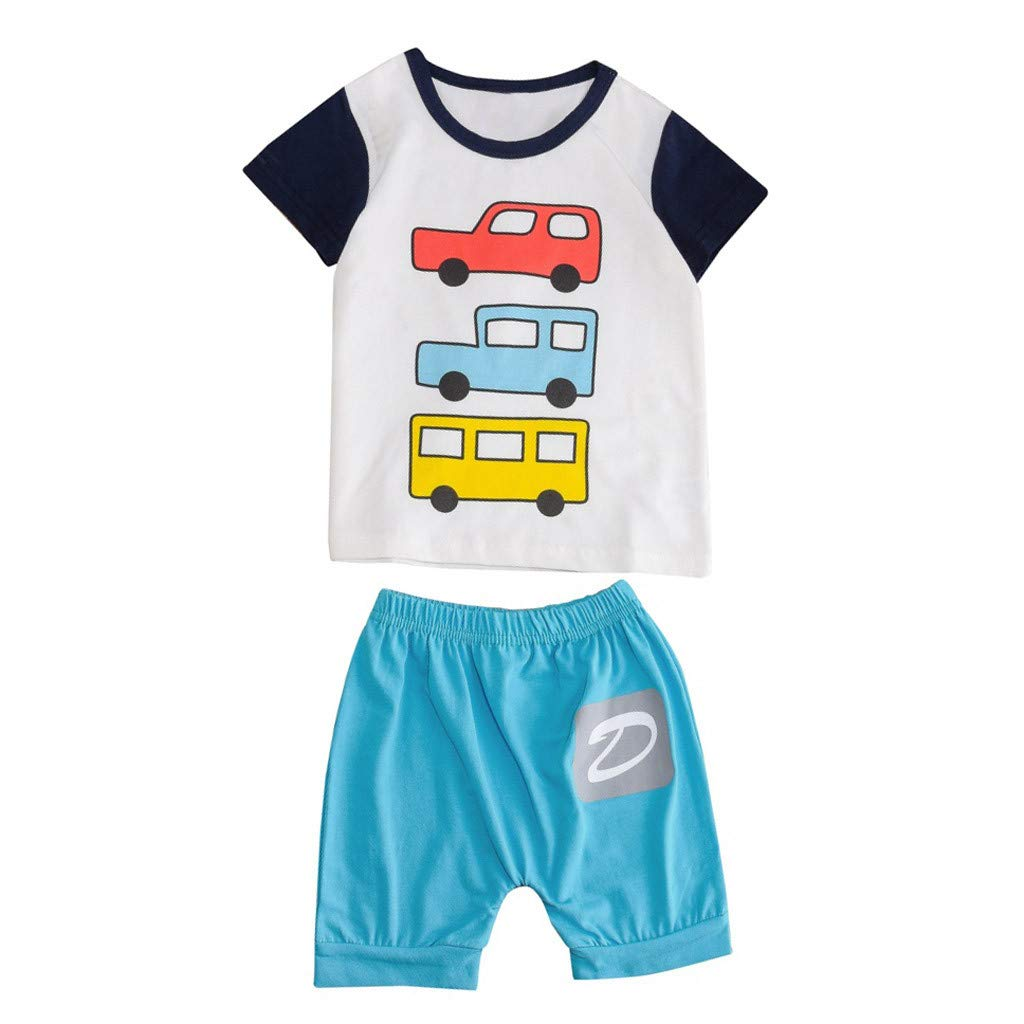 Baby Summer Cartoon Outfit,Jchen Baby Kids Little Boys Girls Cartoon Car Print Short Sleeve Tops+Letter Shorts Outfits for 1-5 Y (Age: 2-3 Years Old, Blue)