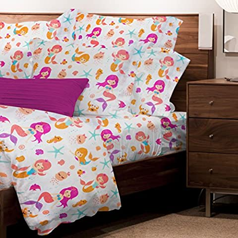 Safdie & Co. Sheet Set Juvenile 3PC T Mermaids, Twin, Multi - Juvenile Bedding