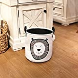 Cartoon Lion Fabric Organizer Bin Basket, Kids Bedroom Playroom Collapsible Toy Storage Hamper, Adorable Baby Nursery Canvas Laundry Basket