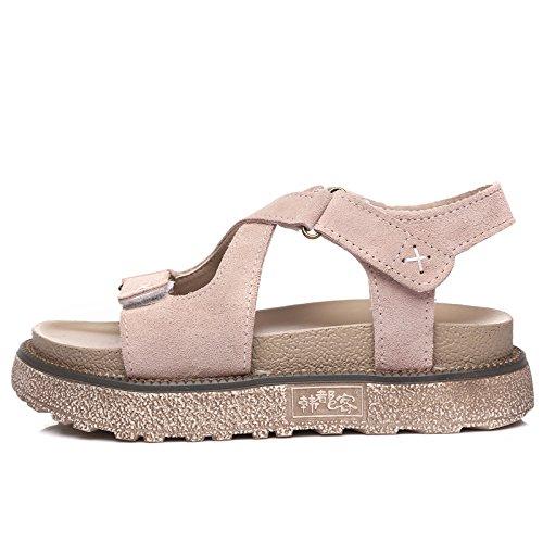QQWWEERRTT Moda Nueva Plataforma Zapatos de Plataforma Sandalias Verano Femenino Plana Simple Estudiante Roman Shoes albaricoque