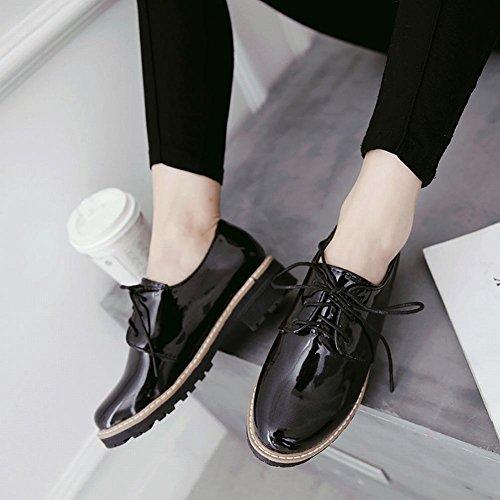 Carolbar Womens Patent Leather Fashion Lace-Up Low Heel Oxfords Shoes Black hNbtdspm9m