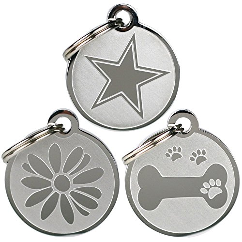 Playful, Custom Engraved Pet ID Tags. Solid Stainless Steel. Personalized Dog & Cat Pet Identification. Durable