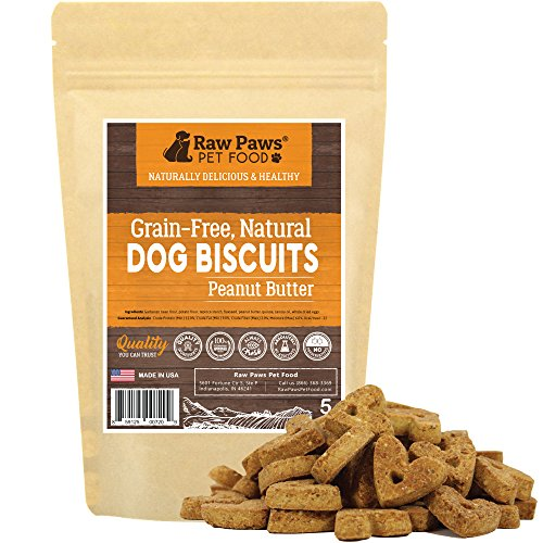 Raw Paws Natural Peanut Butter Dog Treats Grain Free, 5-oz - PB Dog Treats Made in USA - Heart Shaped Peanut Butter Dog Biscuits Small - Baked Crunchy Dog Training Treats - Wheat, Corn & Soy Free -