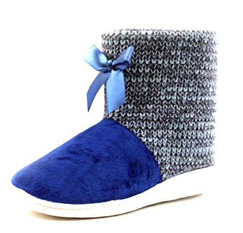 Luckers Womens Slipper Booties Poncho Blauw