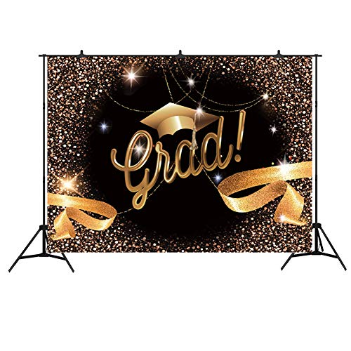 Graduation Party Backdrop Banner 7x5ft Photo Booth Props 2019 Congrats Grad Prom Decorations Black and Gold Bachelor Cap Ribbon Photography Background