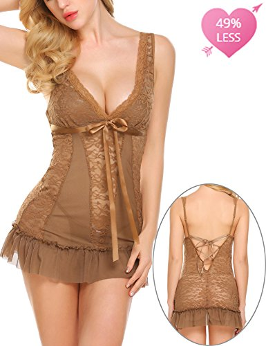 ADOME Women V-Neck Lace Babydoll Mesh Chemise Sleepwear Coffe (Womens Chemise Brown)