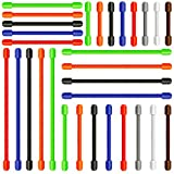 "Aken 30 Pcs Gear Ties, Reusable Rubber Twist Tie, 3""+6""+8""+10''+12"" Silicone Cable Wire Tie, 3 Different Sizes Cord Wraps Wire Organizer Management for Home / Office / Garage / Workshop, Assorted Colors"
