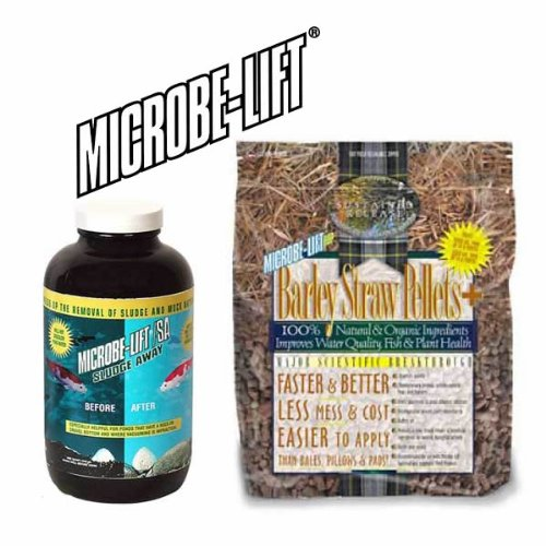 Pond Water Treatment Duo Microbe-Lift Pond Sludge Away 32oz + Microbe-Lift Barley Straw Pellets 10.5Lbs ()