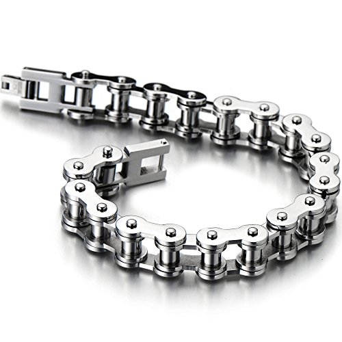 - COOLSTEELANDBEYOND Classic Mens Bike Chain Bracelet Stainless Steel Silver Color Polished