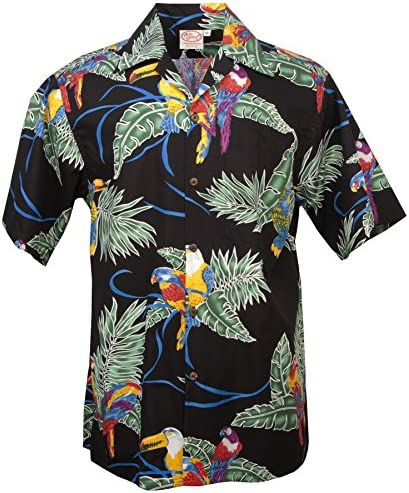 Tropical Birds - Men`s Hawaiian Print Aloha Shirt - in Black