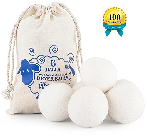 Wool dryer balls,Pack of 6 XL 2.8,Fabric Softener - Reusable,Reduces Drying Time by Cute Sheep.