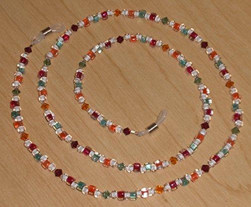 Cranberry/Coral/Aqua (Ruby/Sun/Erinite) Crystal Bead Mix Eyeglass Chain
