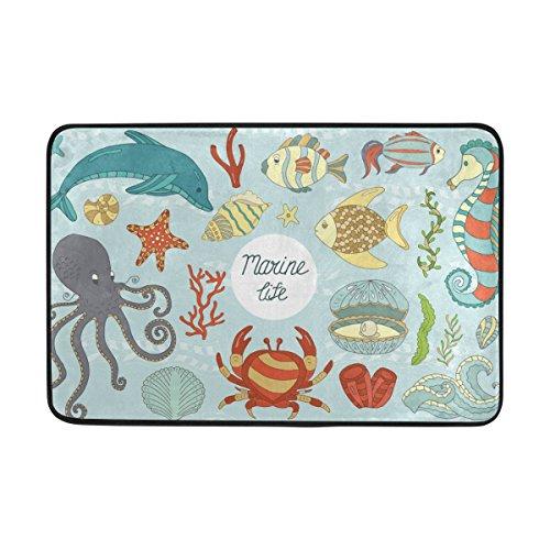Cicily Doormat Wild Sea Life Door Mat Durable Non Slip Soft Memory Foam Living Room Decors,,23.6x15.7 inches (Sea Life Memory)