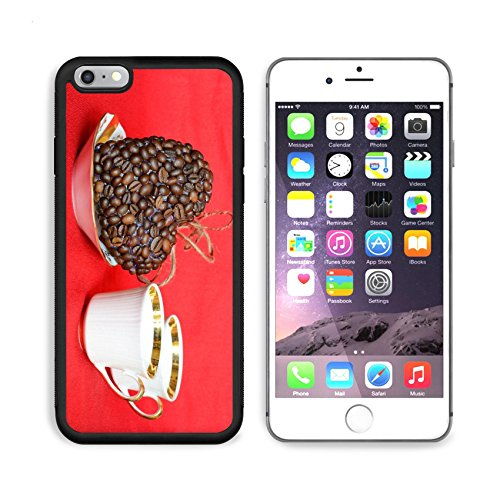 MSD Premium Apple iPhone 6 Plus iPhone 6S Plus Aluminum Backplate Bumper Snap Case Heart of coffee beans and coffee cups Valentine Valentine s Day 31944073