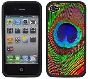 meilz aiaiRed Peacock Feather Handmade iPhone 4 4S Black Hard Plastic Casemeilz aiai