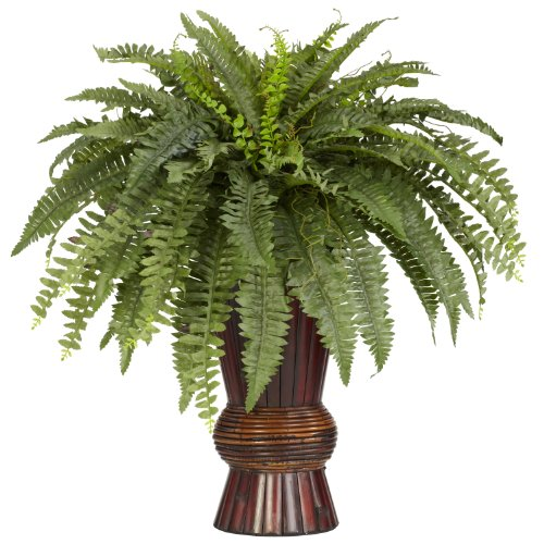 Nearly Natural 6628 Boston Fern with Bamboo Vase Decorative Silk Plant, Green ()