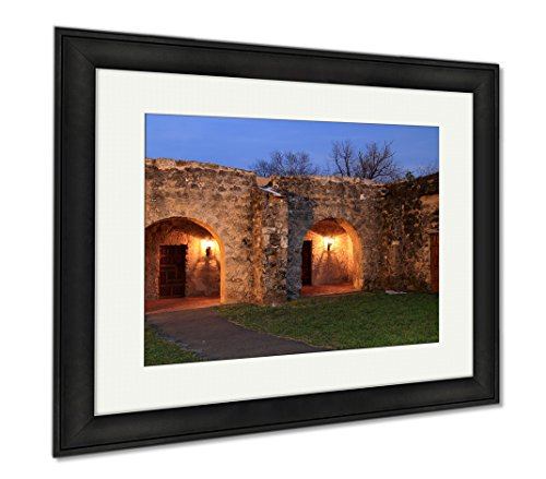 Ashley Framed Prints Mission Concepcion Illuminated At Night San Antonio Missions National, Wall Art Home Decoration, Color, 34x40 (frame size), Black Frame, AG6515575 by Ashley Framed Prints