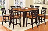 Furniture of America Cherrine 9-Piece Country Style Pub Dining Set, Oak/Black