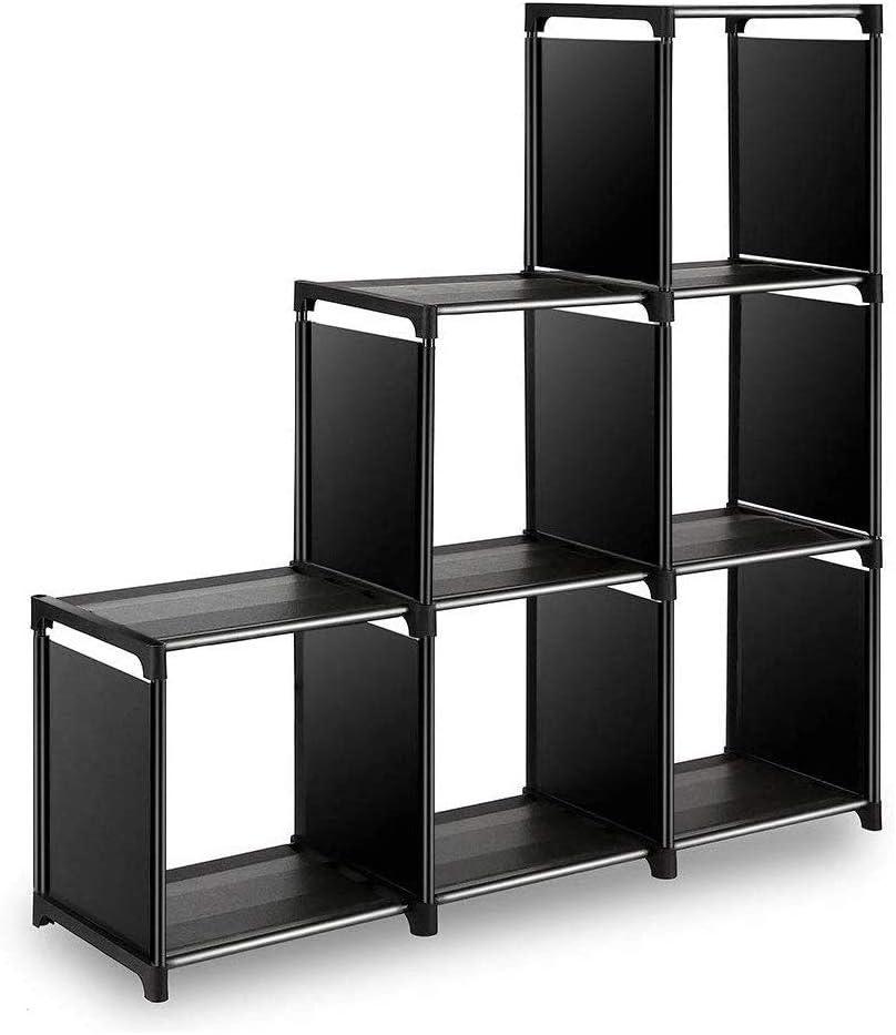 Wishwill Storage Cube Organizer, 6 Cube Storage Organizer Rack,DIY Storage Book Shelf Toy Shelf Modular Bookcase Closet Cabinet in Living Room,Children's Room, Bedroom(Black)
