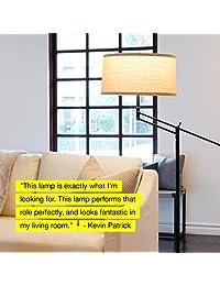 Brightech Ava   Lámpara LED de pie para salón con brazo ajustable, para oficina y dormitorio, con pantalla de tambor, color negro