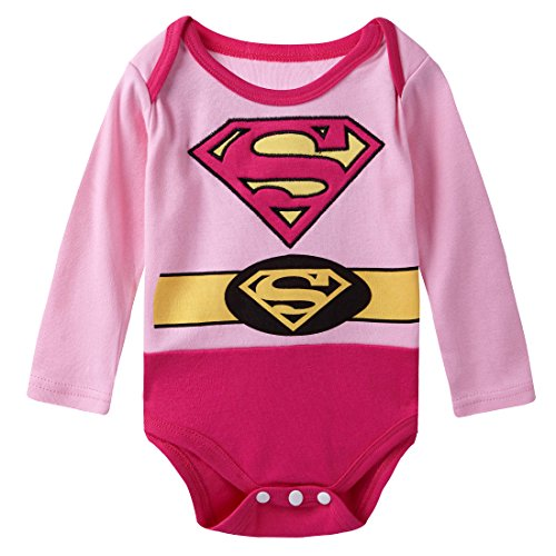 A&J Design Baby Girls' Supergirl Long Sleeve Bodysuit 12-18 Months