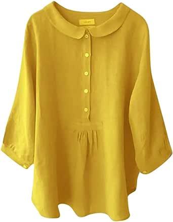 Luckycat Mujeres Solapa Botón Camisa Top de Encaje de Manga Larga para Mujer Color sólido Estampado de Encaje Casual Elegante Blusa Delgado Sudadera Camiseta Oficina Camisa Sudadera Camiseta: Amazon.es: Ropa y accesorios