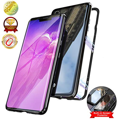 Magnetic Case for iPhone Xs MAX,Double-Sided Clear Tempered Glass Hard Back Cover [with Built-in Magnets Metal Bumper Frame],360° Full Protection Ultra Slim Case for iPhone Xs MAX 6.5