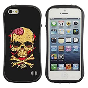 Be-Star Impreso Colorido Diseño Antichoque Caso Del Iface Primera Clase Tpu Carcasa Funda Case Cubierta Par Apple iPhone 5 / iPhone 5S ( skull brains yellow black crossbones )