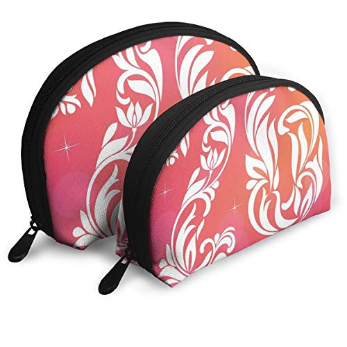 Shell Shape Makeup Bag Set Portable Purse Travel Cosmetic Pouch,Unique Victorian Style Leaf Featured Number Aging Print,Women Toiletry Clutch ()