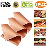 NiceOne Copper Grill Mat Set of 3-100% Non-stick BBQ Grill Mat- FDA-Approved, PFOA Free, Easy to Clean Dishwasher Safe-Works on Gas, Charcoal, Electric Grill and More-15.75 x 13 Inch (Gold)