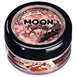 Holographic Chunky Glitter by Moon Glitter – 100% Cosmetic Glitter for Face, Body, Nails, Hair and Lips - 0.10oz - Rose Gold
