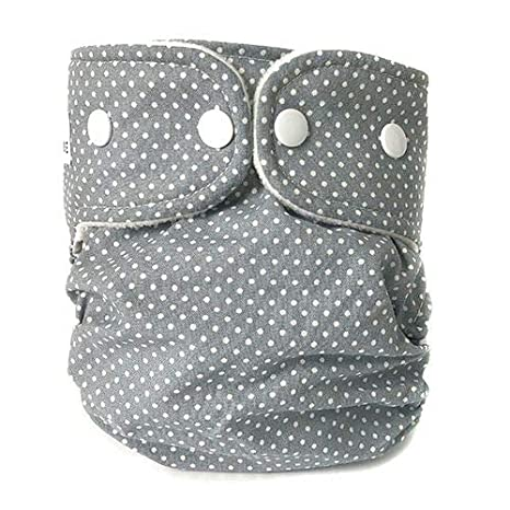 Dots - Dusty Blue, Large Weecare Nappy Diaper Easycare Shell Washable Cover Outer Wrap 2 Sizes Popper with Insert