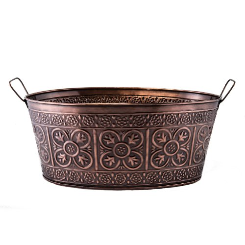 - Old Dutch 634 Oval 2.9-Gallon Quatrefoil Party Tub, 17 by 91/2 by 7-Inch, Antique Copper