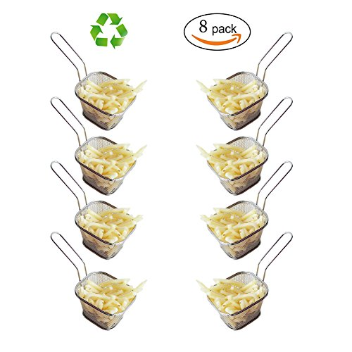 HUAJIAN Fry Basket 8 pcs Mini Square Stainless Steel Fry Basket Present Fried Food, Table Serving Frying basket
