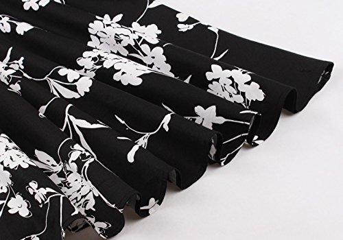 Vintage Size 1950s Floral Women Aecibzo Black Sleeveless s Dress Plus Swing Rockabilly TwgRwxn