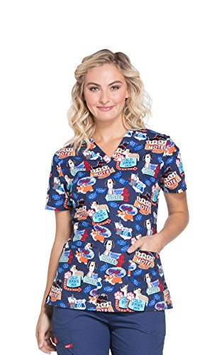 Dickies EDS Signature by Women's V-Neck Dog Print Scrub Top Medium Print (Cotton Print Scrub)