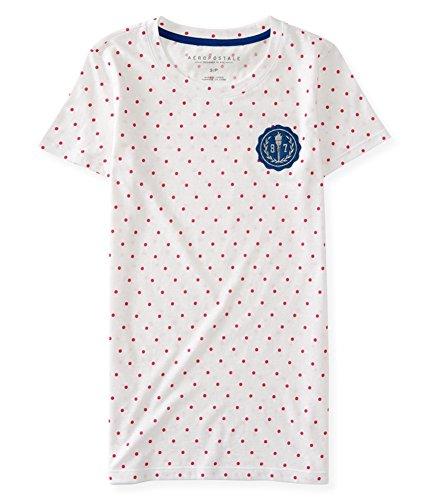 AEROPOSTALE Womens Polka Dot Crest Embellished T-Shirt, Pink, Small (Clothing Aeropostale)