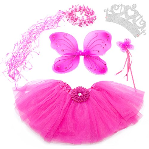 [5 Piece Shimmering Fairy Princess Costume Set (Hot Pink)] (Fairy Costumes Girl)
